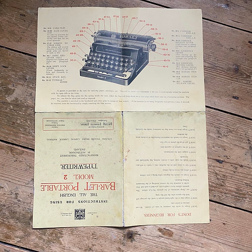 Bar-let Portable Typewriter Instructions for Use