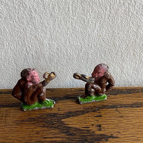 Pair of Vintage Lead Monkeys