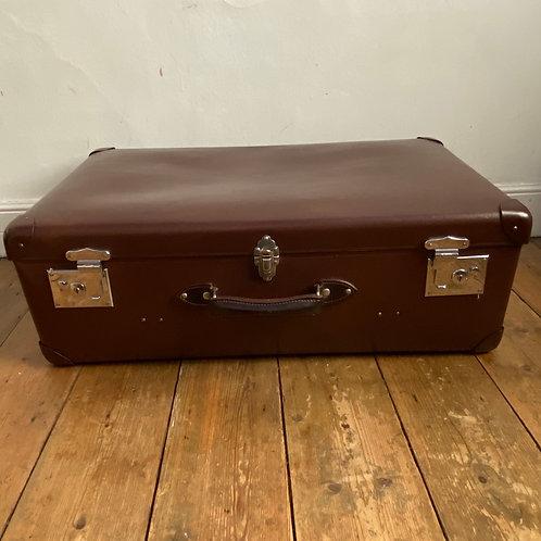 Large Vintage Brown Globe Trotter Suitcase