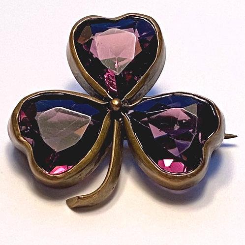 Vintage Purple Clover Brooch