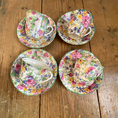 Four Tiny Chintz Cups and Saucers