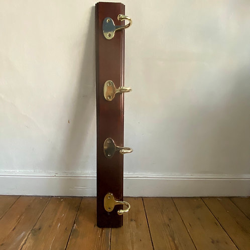 Mahogany Hook Board with Brass Hooks