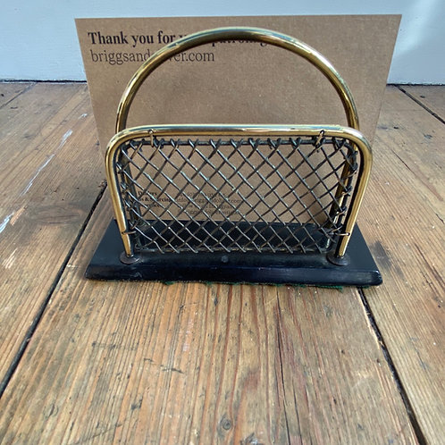 Antique Wire and Brass Letter Rack