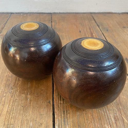 Pair of Antique Lignum Vitae Bowling Balls