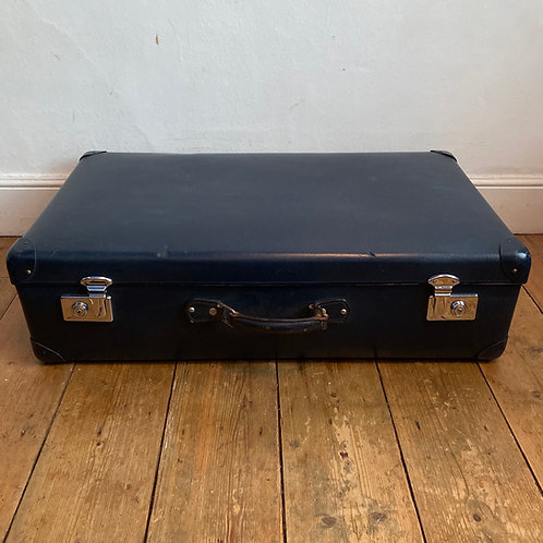 Large Vintage Blue Globe Trotter Suitcase