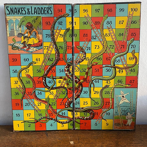 Antique Tin Plate Snakes & Ladders