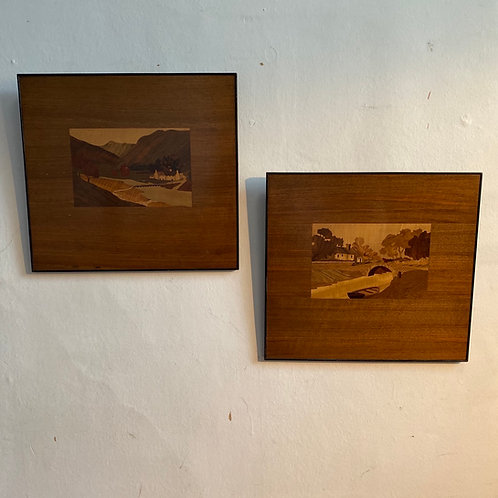 Pair 1930's Marquetry Folk Art Pictures