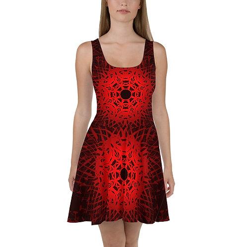 1V21 Spectrum Red Skater Dress