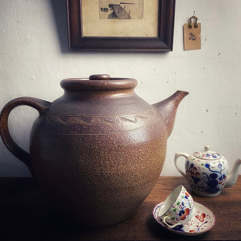 Early 20thC Oversized Saltglaze Teapot with Sgraffito Decoration