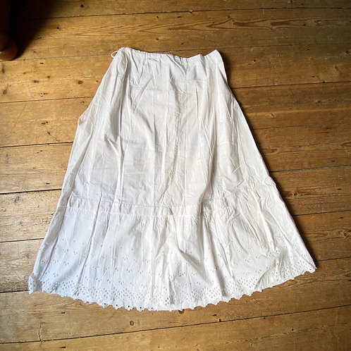 Antique Hand Stitched White Cotton Petticoat