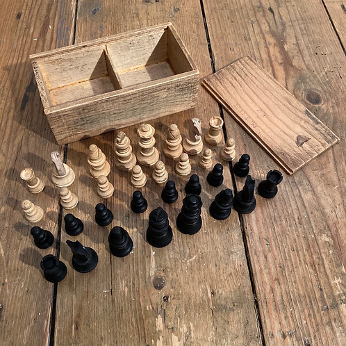 Vintage Wooden Chess Set in Box