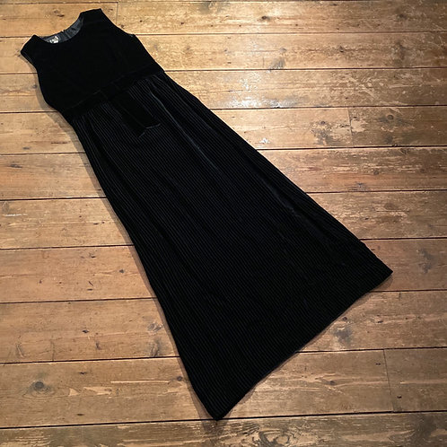 Vintage Lee Cecil of London Black Velvet Maxi Dress