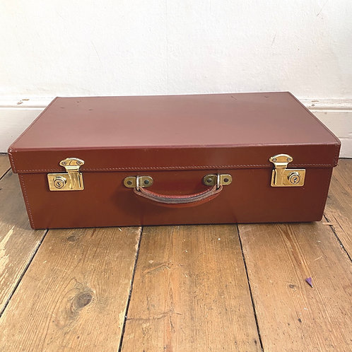 Vintage Leather Suitcase with Brass Locks