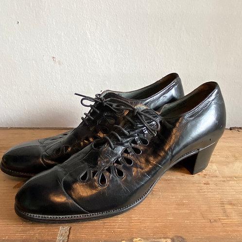Vintage Church's Black Leather Ladies Shoes