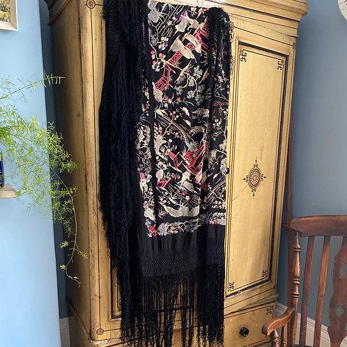 Antique Black Silk Embroidered Piano Shawl