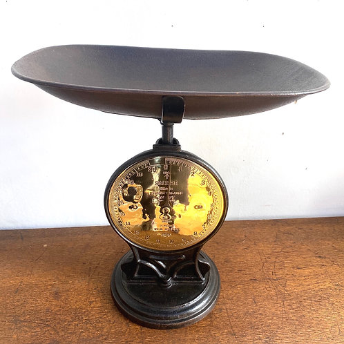 Large Antique Brass Faced Salter Scale