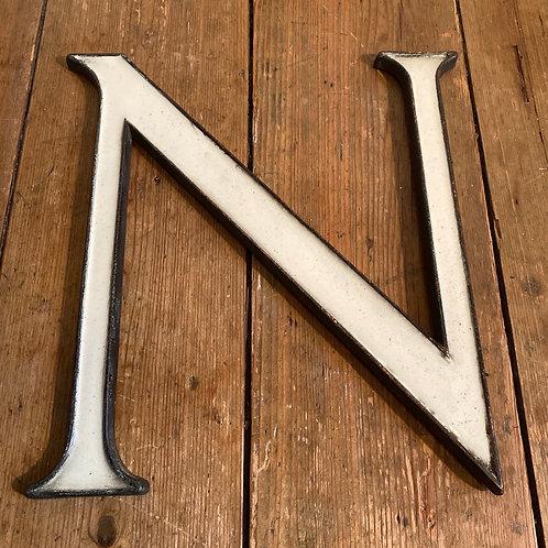 Large Antique Enamel and Bronze Letter N
