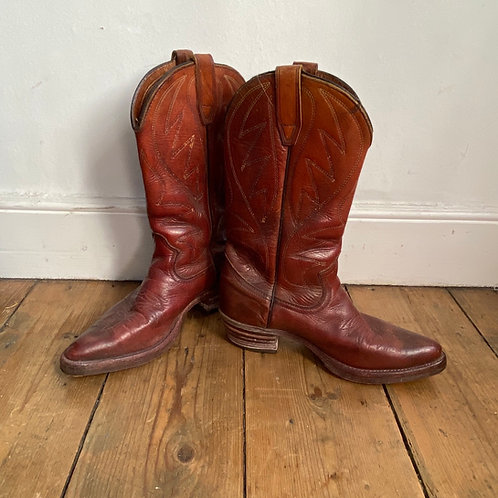 Original 1970's Stitched Leather Cowboy Boots
