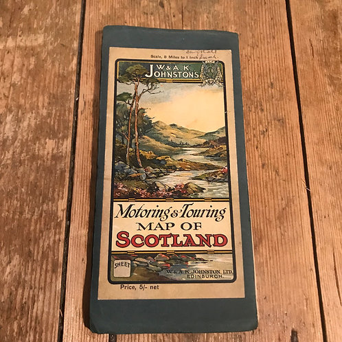 Antique Motoring and Touring Map of Scotland