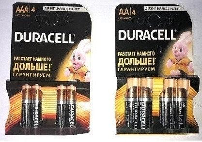батарейки пальчиковые и мизинчиковые DURACELL