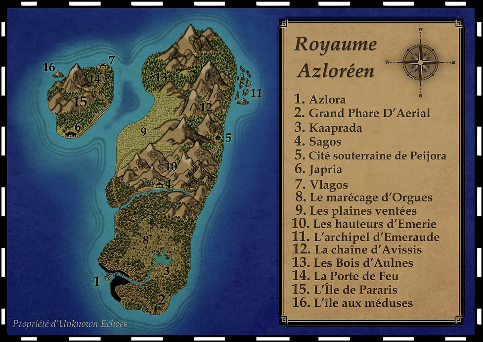 Carte du Royaume d'Azlora, l'Univers d'Unknown Echoes. Jeu de rôle