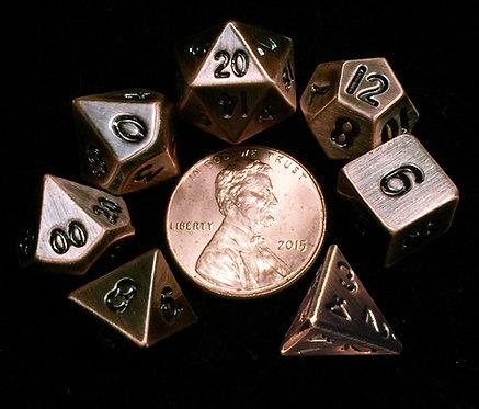 Set de mini dés en métal cuivre