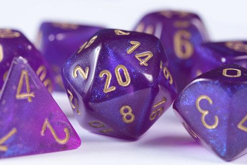 Set de dés en résine Boréalis Violet