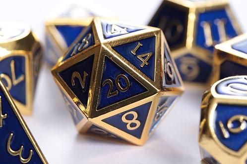 Set de dés en Métal Enameled Or bleu