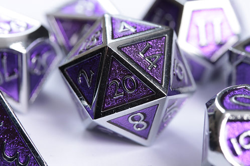 Set de dés en Métal Enameled Argent Violet