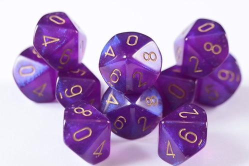 Pack de dés 10 en résine Boréalis Violet