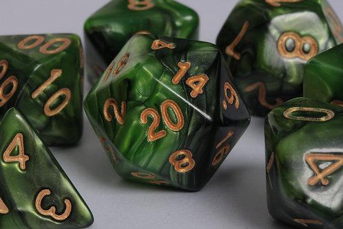 Set de dés en résine marbrée Vert-Noir