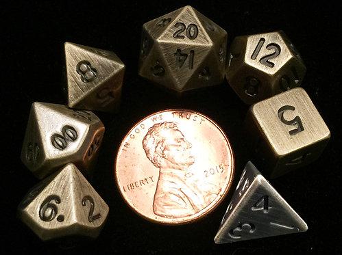 Set de mini dés en métal or