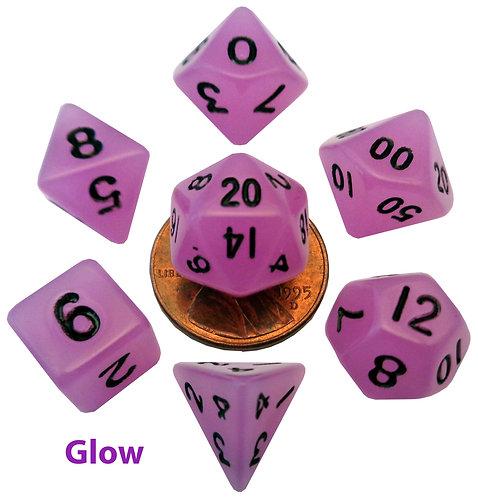 Set de mini dés en résine luminescente Violet