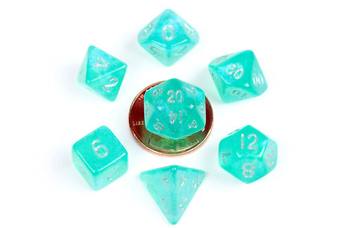 Set de mini dés en résine Stardust Turquoise