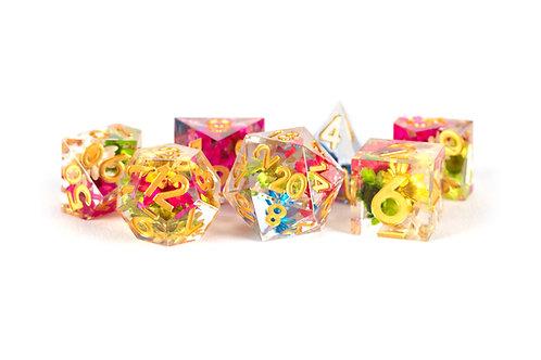 Set de dés en résine Super Sharp Edge Fleurs multicolores