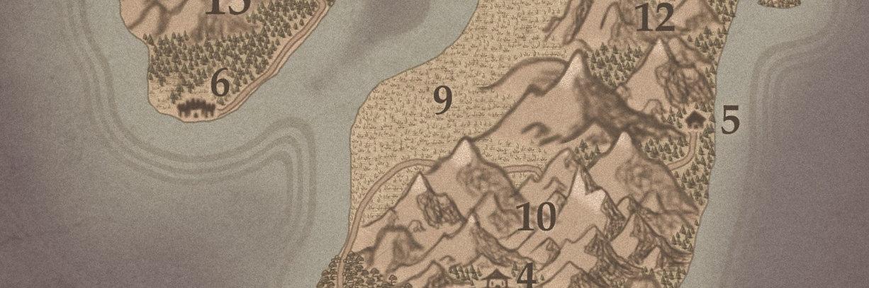 Partie basse de la carte d'Azlora, un haut lieu magique de l'univers d'Unknown Echoes.