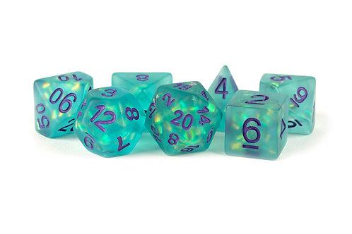 Set de dés en résine Icy Opal turquoise