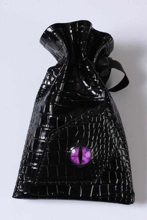 Sac à dés oeil de dragon violet