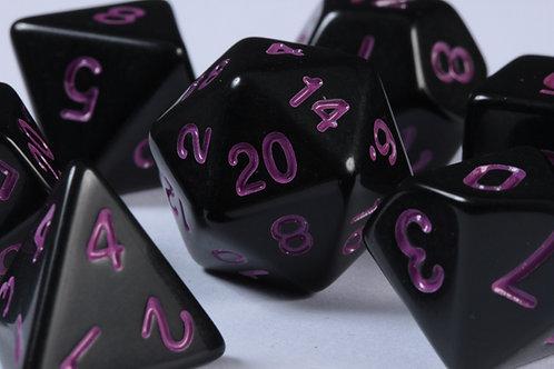 Set de Dés en Résine Opaque Noir Violet