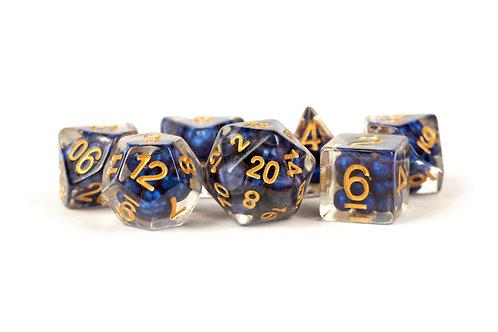 Set de dés en résine Pearls Bleu roi