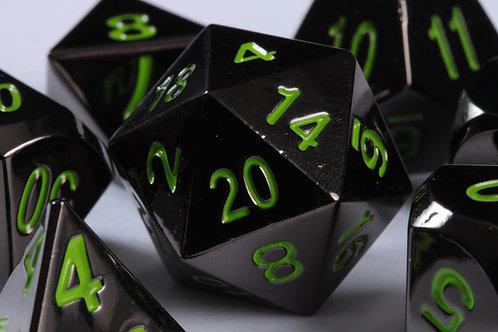 Set de dés en Métal Obscur Vert