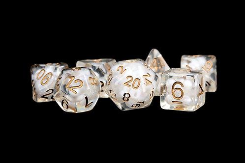 Set de dés en résine Pearls Blanc