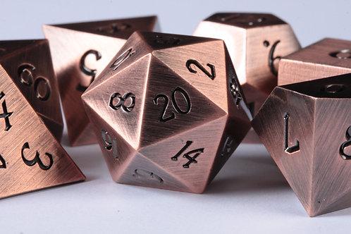 Set de dés en métal Cuivre Brillant Gravé