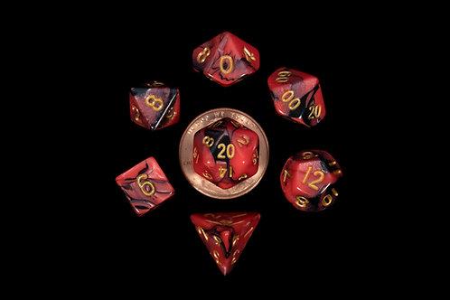 Set de mini dés en résine bicolore rouge noir