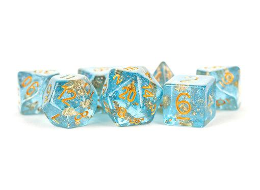 Set de dés en résine bleu feuille d'or