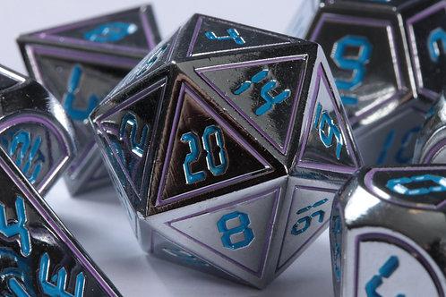 Set de Dés Futuristiques Argent-Bleu