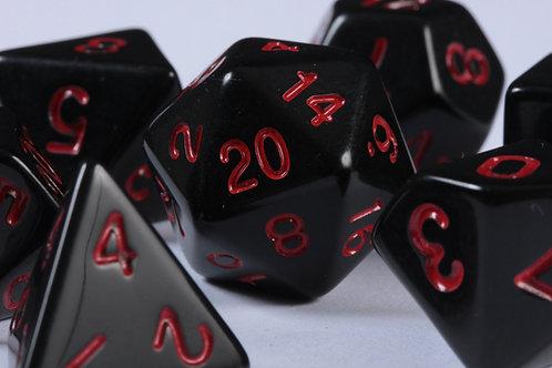Set de Dés en Résine Opaque Noir Rouge