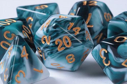 Set de dés en résine Bicolore Turquoise - Blanc