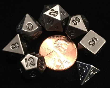 Set de mini dés en métal argent