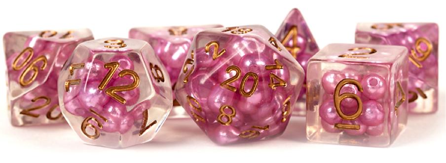 Set de dés en résine Pearls Rose